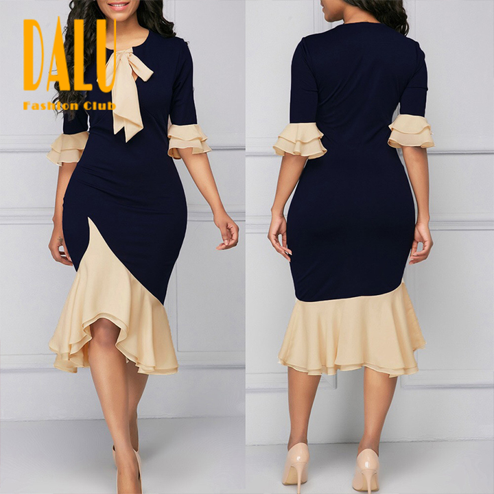 DALU Sexy Bow  Long Sleeve Splicing Elegant Business Formal Office Plus Size Pencil Dresses Women s nomal