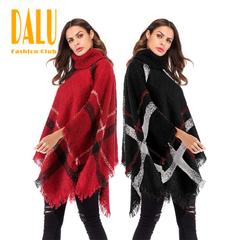 Fashionable irregular fringed tassel cloak shawl high collar bat sleeves sweater jacket black Uniform code