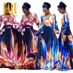DALU Women's Fashion Long Sleeve V Neck Printing Slim High Waist Tie Dye  Chiffon Maxi Long Dress m pink