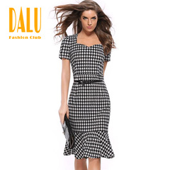 DALU Sexy Checked Long Sleeve Checked Elegant Business Formal Office Pencil Dress Skirt Women s 02