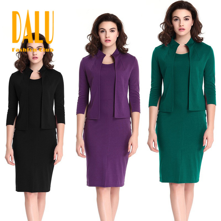 DALU Two Piece Summer Suit Patchwork Elegant Business Formal Office Pencil Work Dress Skirt Women s black