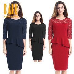 DALU Sexy Lace Long Sleeve Splicing Elegant Business Formal Office Pencil Dress Skirt Women s red