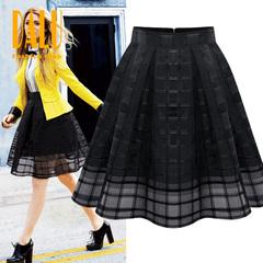 DALU New Women Skirts Grid Design Pleated Knee Length Skirt Black And White Party Dress Short Skirt white s
