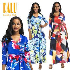 DALU Women Fashion Sex Long Sleeve V neck Flowers Printed Slim Casual Elegant Gown Fit Long Dress s 01