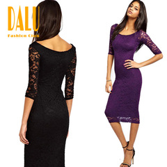 DALU Summer Lace Vogue Sexy High Waist Belted Panel Maxi Dress Solid Color Office Women Dress s black