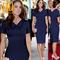 DALU Sexy Belt Checked Long Sleeve Checked Elegant Business Formal Office Swing Dress Skirt Women 2xl blue
