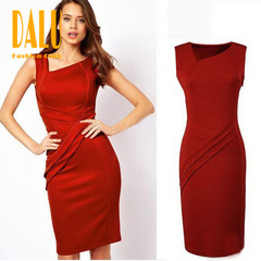 DALU Sexy Checked Long Sleeve Checked Elegant Business Formal Office Pencil Dress Skirt Women s red