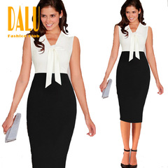 DALU Fashion Sexy Long Sleeve Casual Gown Elegant Business Formal Dress Skirt Women s black