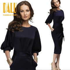 DALU Sexy Short Sleeve Checked Elegant Business Formal Office Long Pencil Dress Women Tops Shirt s picture