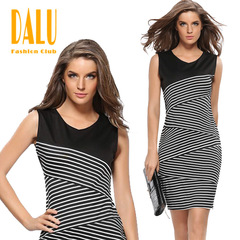 DALU Pure Color Sleeveless Elegant Business Party Formal Office Bodycon Club Casual Pencil Dress s picture