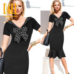 DALU Sexy Checked Long Sleeve Checked Elegant Business Formal Office Holidays Dress Skirt Women s black