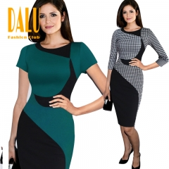 DALU Sexy Checked Long Sleeve Checked Elegant Business Formal Office Pencil Dress Skirt Women s black