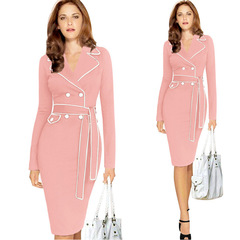 DALU Sexy Checked Long Sleeve Checked Elegant Business Formal Office Pencil Dress Skirt Women s pink