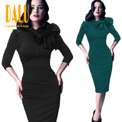 DALU Women Fashion Sex Slim Casual Elegant Gown Fit Long Checked Elegant Business Formal Dress s black