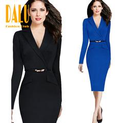 DALU Pure color Patchwork Elegant Business Party Formal Office Plus Size Pencil Work Dress Women s black