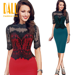 DALU Pure Color Sleeveless Elegant Business Party Formal Office Bodycon Club Casual Pencil Dress 3xl red lace