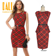 DALU Pure Color Sleeveless Elegant Business Party Formal Office Bodycon Club Casual Pencil Dress s red