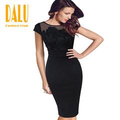 DALU Sexy Belt Checked Long Sleeve Checked Elegant Business Formal Office Swing Dress Skirt Women s black