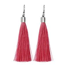 Tassel earrings,Long style earrings,National style earring,Fashion earrings pink one size