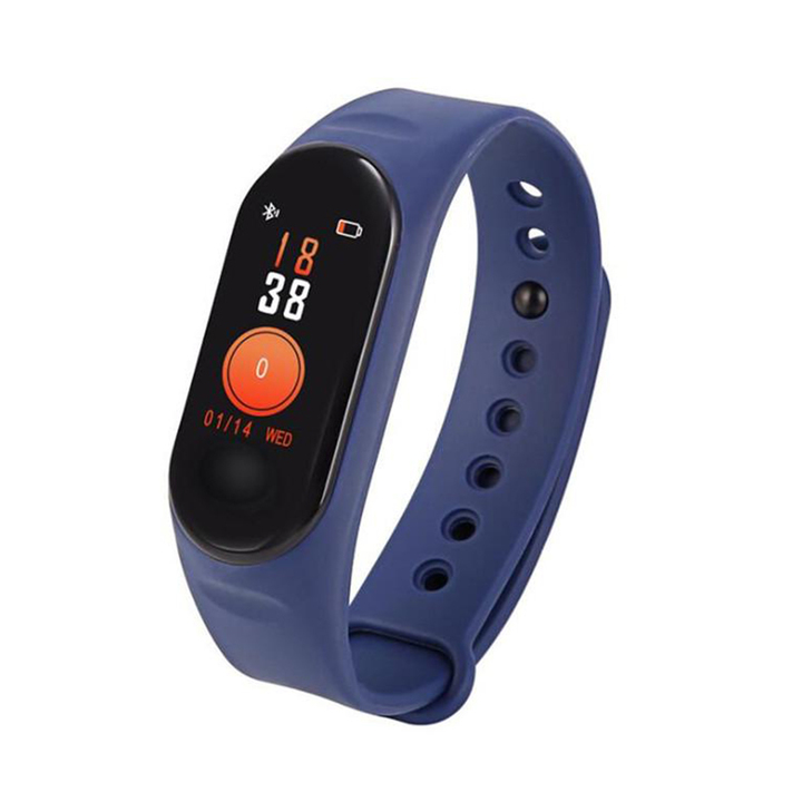 M3 Smart Bracelet Fitness tracker heart rate monitor Pedometer Wristband For IOS and Android phone blue 0.96inch screen