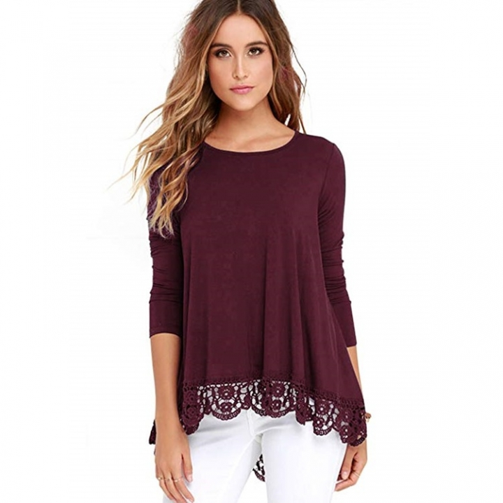 Women s Casual Loose Tops Round Neck Pure Color Lace Long Sleeved ... 030b47cea
