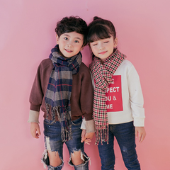 Children Fashion British Style Casual Checked Warm Cashmere-like Scarf 1 One Size