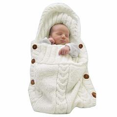 Newborn Baby Wrap Swaddle Blanket Knit Sleeping Bag Sleep Sack Stroller Wrap for Baby (0-6 Month) white One piece