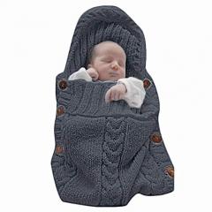 Newborn Baby Wrap Swaddle Blanket Knit Sleeping Bag Sleep Sack Stroller Wrap for Baby (0-6 Month) black One piece