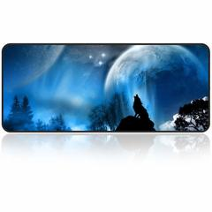 Extra Large Office Gaming Mouse Pad,Water-Resistant,Anti-slip Rubber Base, Durable Stitched Edges Moon wolf 31.5×11.8×0.12 inch