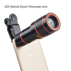 Universal 12X Optical Zoom HD Telescope  Lens Telephoto External Smartphone Camera Lens for Mobile black 12X
