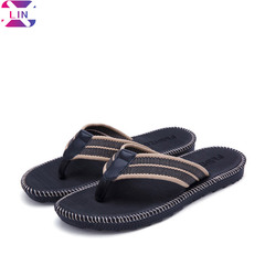 XLIN Men's Classical Flip-Flop Beach Slipper Sandals Comfortable Handmade Fashion Indoor and Outdoor Black classic flip flops 39