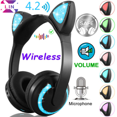 XLIN Brand Fashion Wireless Bluetooth Cat Ear Headphones, Sports, E-sports----(Color Change)sj Color Change