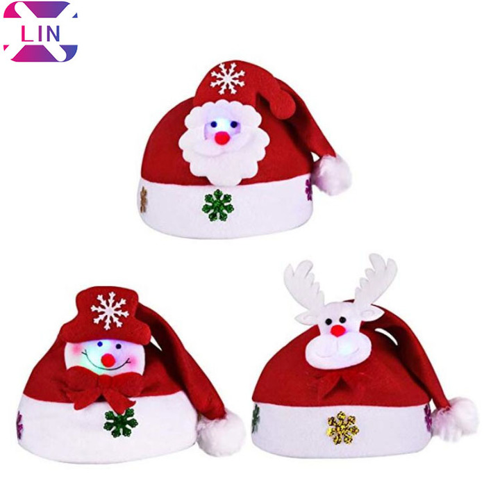 bcc53411a8921 XLIN Pack of 3 LED Glowing Christmas Hats Blinking Santa Hats Adults Kids---