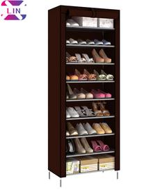 XLIN Shoe Rack shoe storage organizer 10-Tier Shoes Case Unit with Dustproof Non-woven Fabric Cover BROWN ,  60cmW x 30cm D x 160cmH