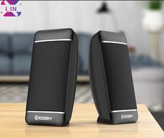 XLIN Fashion Mini Desktop Audio Laptop Audio Multimedia Subwoofer USB Speaker(13*6.5*5.4CM) BLACK