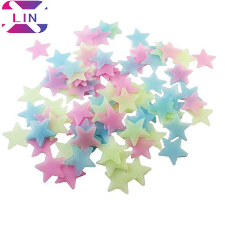 XLIN 500 PCS 3cm Color Stars Glow In The Dark Luminous Fluorescent PVC Wall Stickers color 500pcs