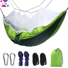 XLIN Camping Hammock With Net, Portable  Double Hammock With Zipper-Closed Mosquito Net Hammock Green(102*55in)