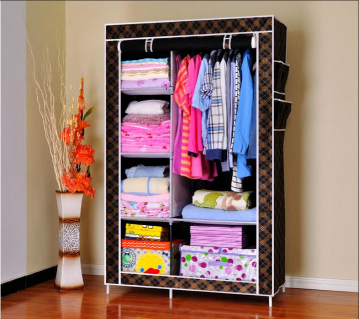 XLIN Closet Wardrobe Storage Organizer with Metal Shelves and Dustproof Non-woven Fabric Cover Black(165*103*43cm)