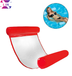 XLIN Inflatable Floating Bed, Water Hammock Beach Mat Float Swimming Pool Lounger Air Sofa RED 130*73cm (environmental mesh)