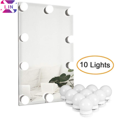 Hollywood DIY Vanity Lights Strip Kit for Lighted Makeup Dressing Table Mirror Plug in LED Lighting Single White Light 1SET(10 Light) 1W/PCS*10PCS