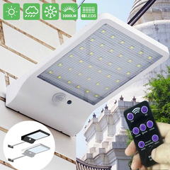 48 LED Solar Powered With remote control Motion Sensor Garden Security Lamp Outdoor Waterproof Light Black with lever 180*110*30mm