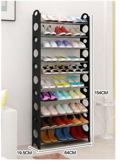 XLIN Shoe Rack 10 Tier Storage Organizing Home Organizer Holder Tower Wall Portable black