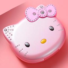 K688+ Cute Mini Hello Kitty Girl Phone Quad Band Flip Cartoon Mobile Phone Unlocked Phone PINK