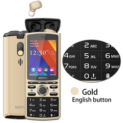 R25 Straight Board 2.8 Dual Card Dual Standby Bluetooth 5.0TWS Wireless Headset Music Speaker Phone gold