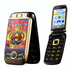 V998 Flip Dual Screen Mobile Phone Vibration Touch Screen Dual SIM Magic Voice Cell Phone gold
