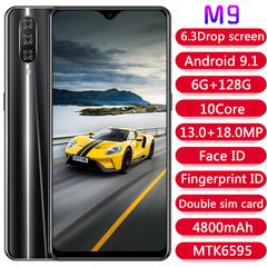M9 6.3 inch Android 9.1 smartphone MTK6595 chip fingerprint phone 6 + 128GB memory 4G phone black