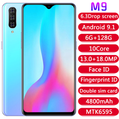 M9 6.3 inch Android 9.1 smartphone MTK6595 chip fingerprint phone 6 + 128GB memory 4G phone blue
