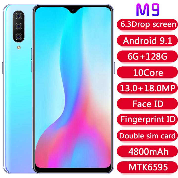M9 6.3 inch Android 9.1 smartphone MTK6595 chip fingerprint phone 6 + 128GB memory 4G phone blue