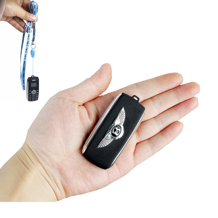 Mini Telephone Bluetooth Dialer Magic Voice Speed Dial Recorder Dual Sim Small Mobile Phone black