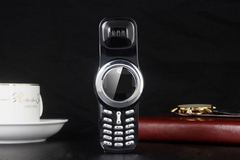 Q9 Classic Rotating Nostalgic Mini Pocket Compact Creative Dual Card Mobile Phone black